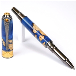 Art Deco Rollerball Pen - Midnight Raven Burl End Cap
