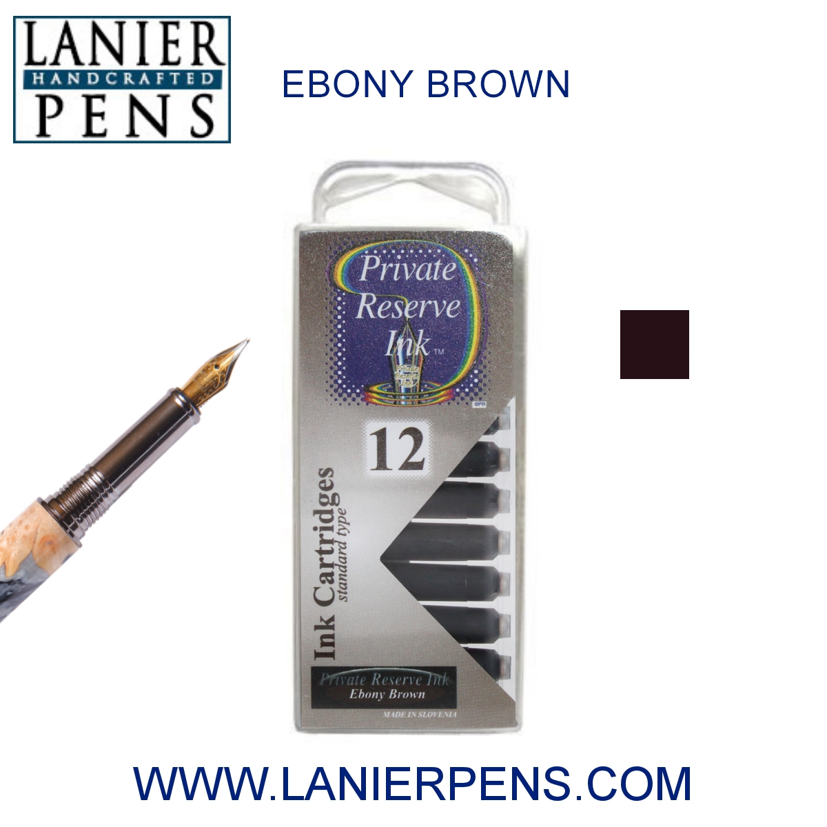 12 Pack - Private Reserve Ink, Universal Fountain Pen Ink Cartridges Clear Case, Ebony Brown