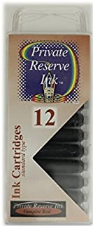 12 Pack - Private Reserve Ink, Universal Fountain Pen Ink Cartridges Clear Case, Vampire Red