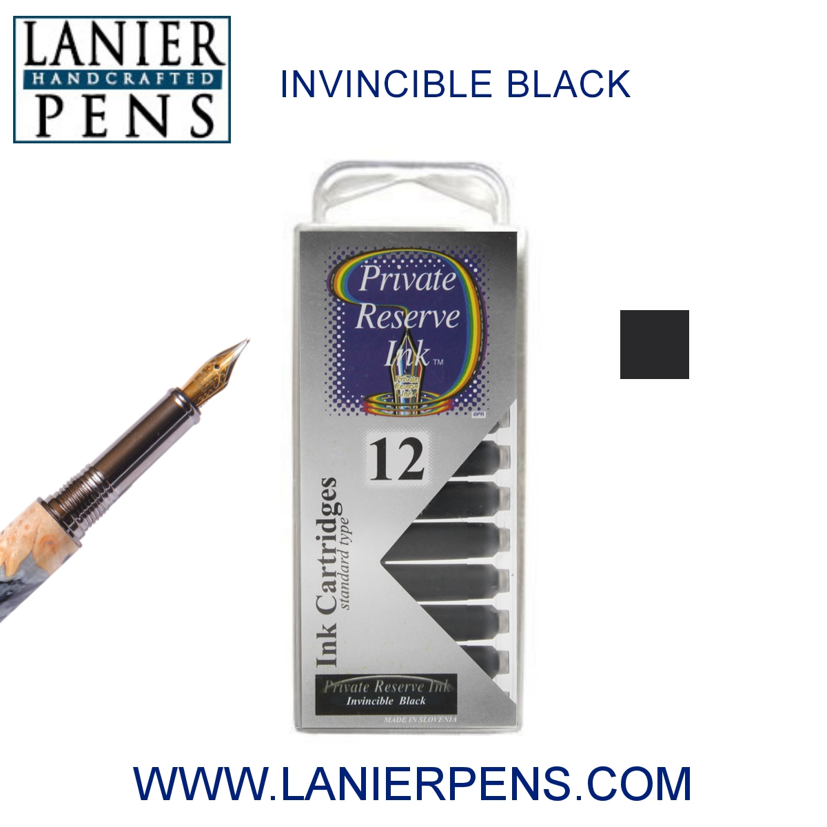 12 Pack - Private Reserve Ink, Universal Fountain Pen Ink Cartridges Clear Case, Invincible Black