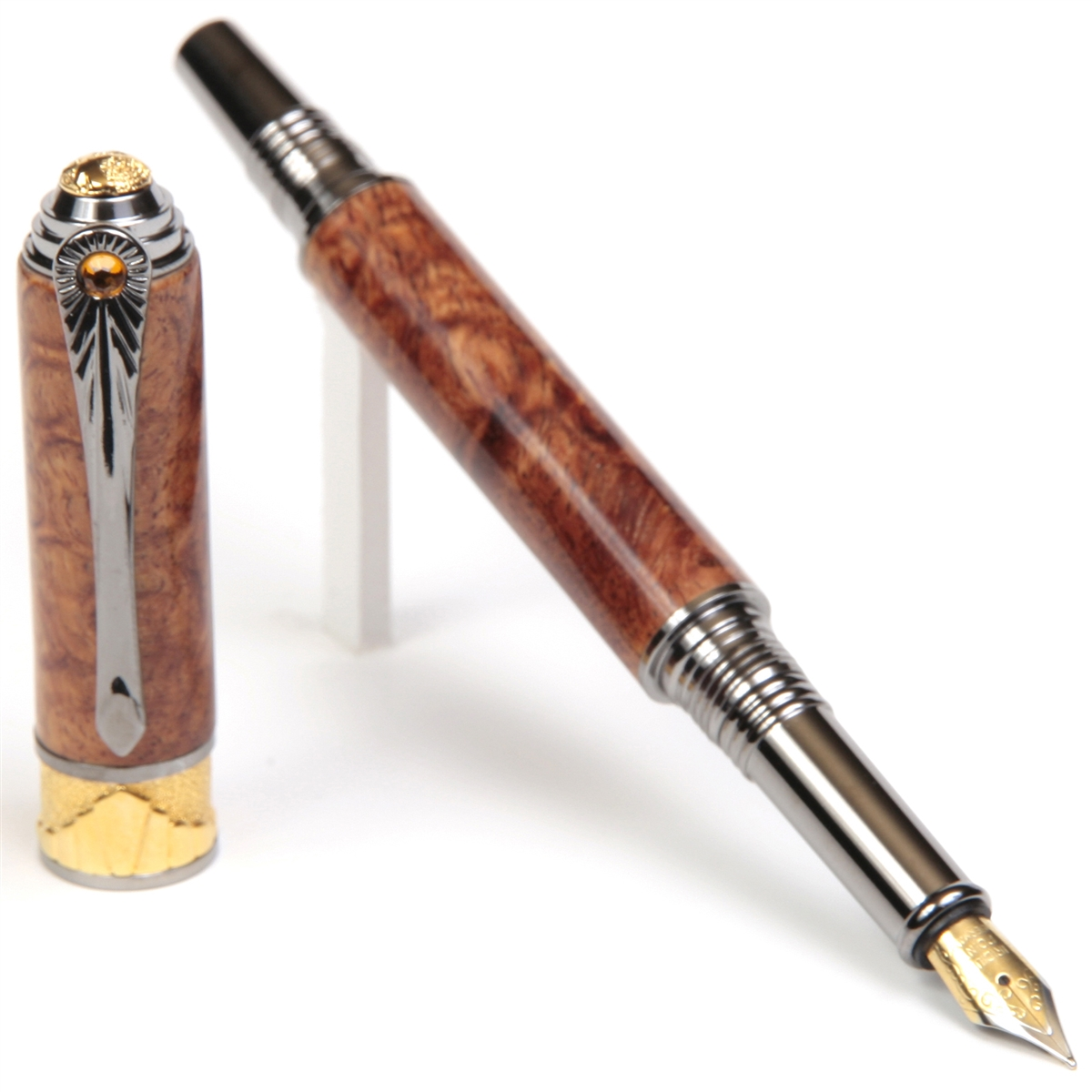 Art Deco Fountain Pen - Afzilia Snakeskin