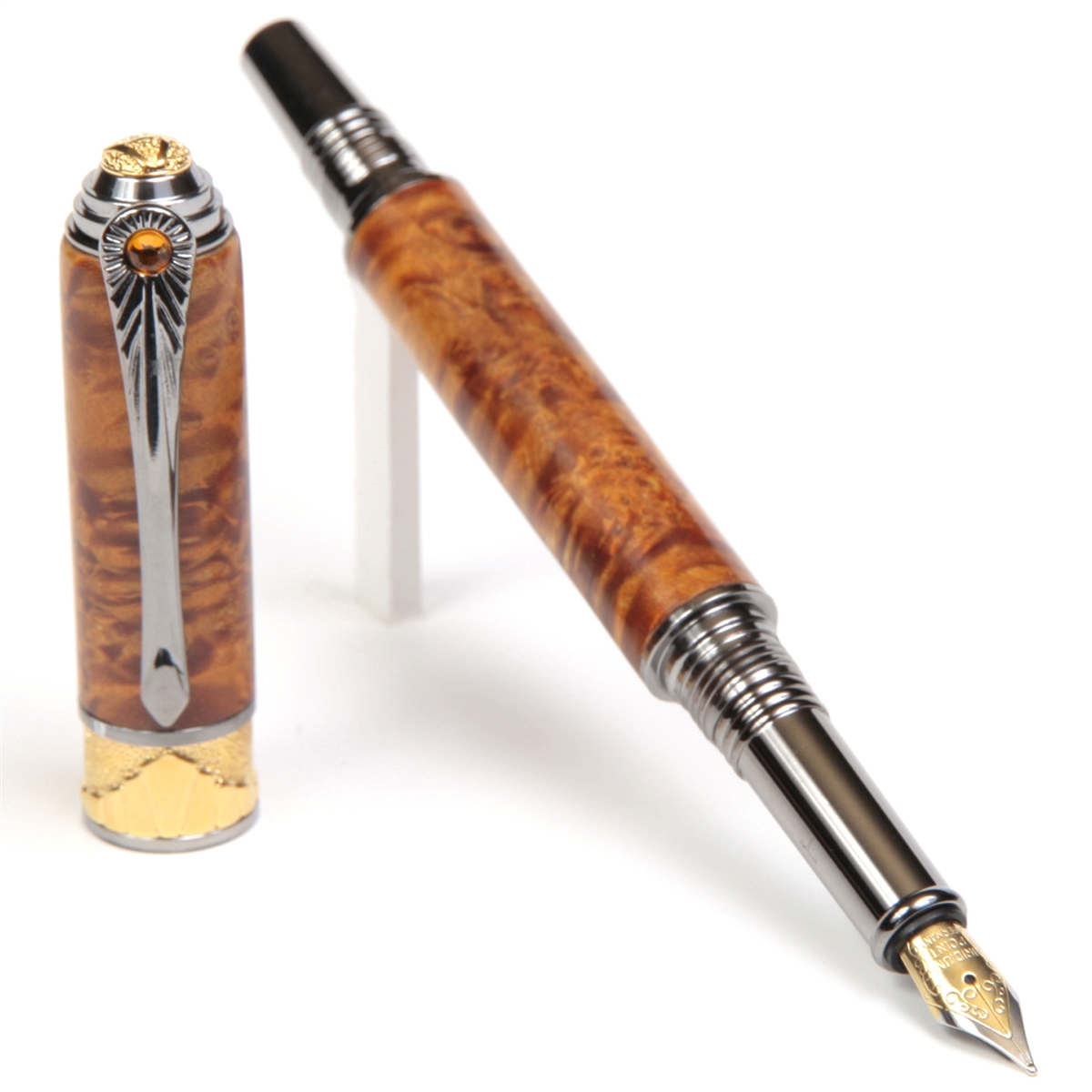 Art Deco Fountain Pen - Yellow Box Elder