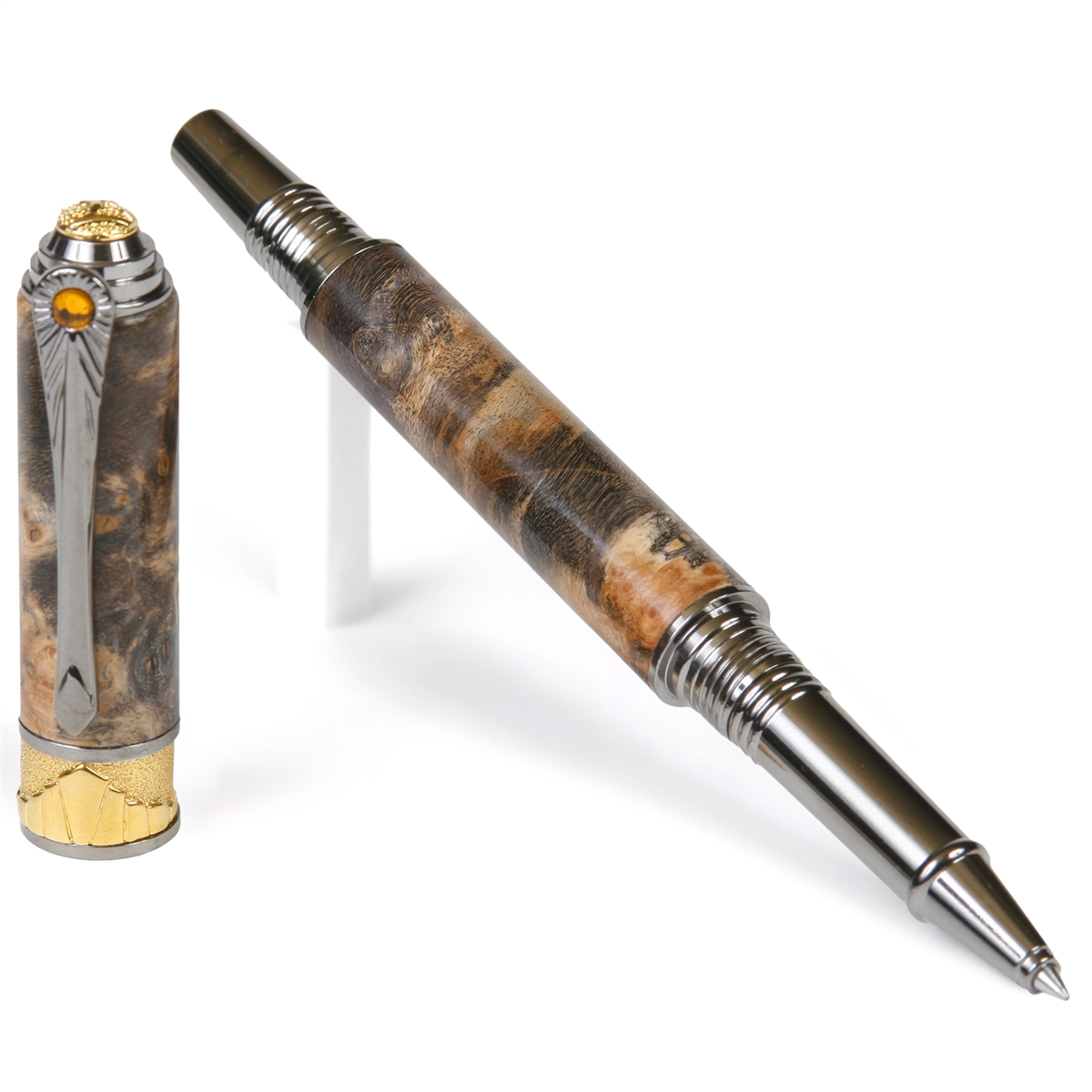 Art Deco Rollerball Pen - Gray and Black Maple Burl