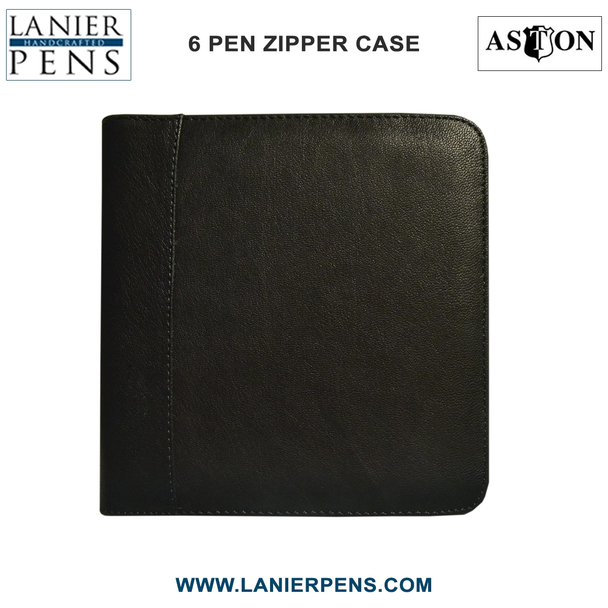 Aston Leather Collectors Zippered 6 Pen Case (Black)
