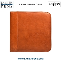 Aston Leather Collectors Zippered 6 Pen Case (Tan)