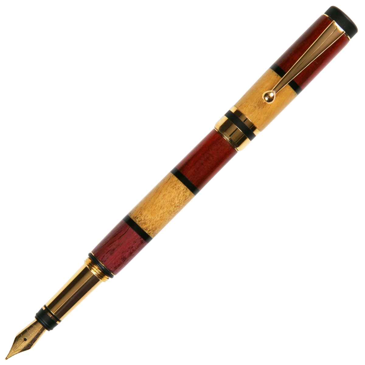 Classic Elite Fountain Pen - Red, Yellow  & Purpleheart with Ebony Inlays