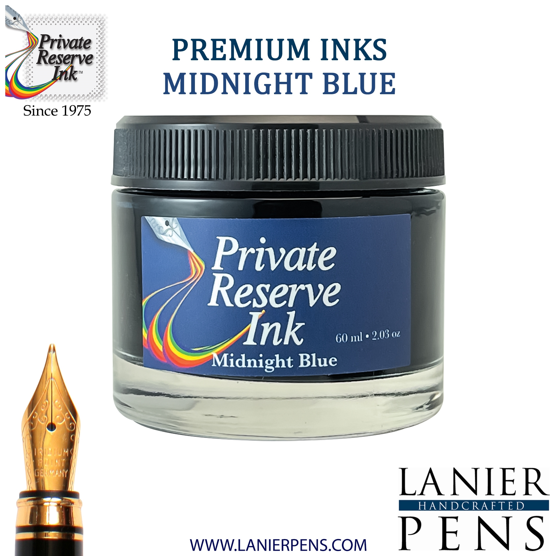 Private Reserve Midnight Blues Fountain Pen Ink Bottle 15-mb Lanier Pens