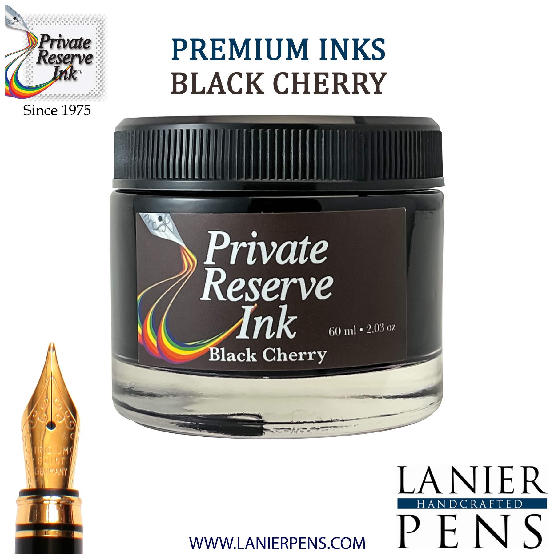 Private Reserve Black Cherry Fountain Pen Ink Bottle 16-blc Lanier Pens