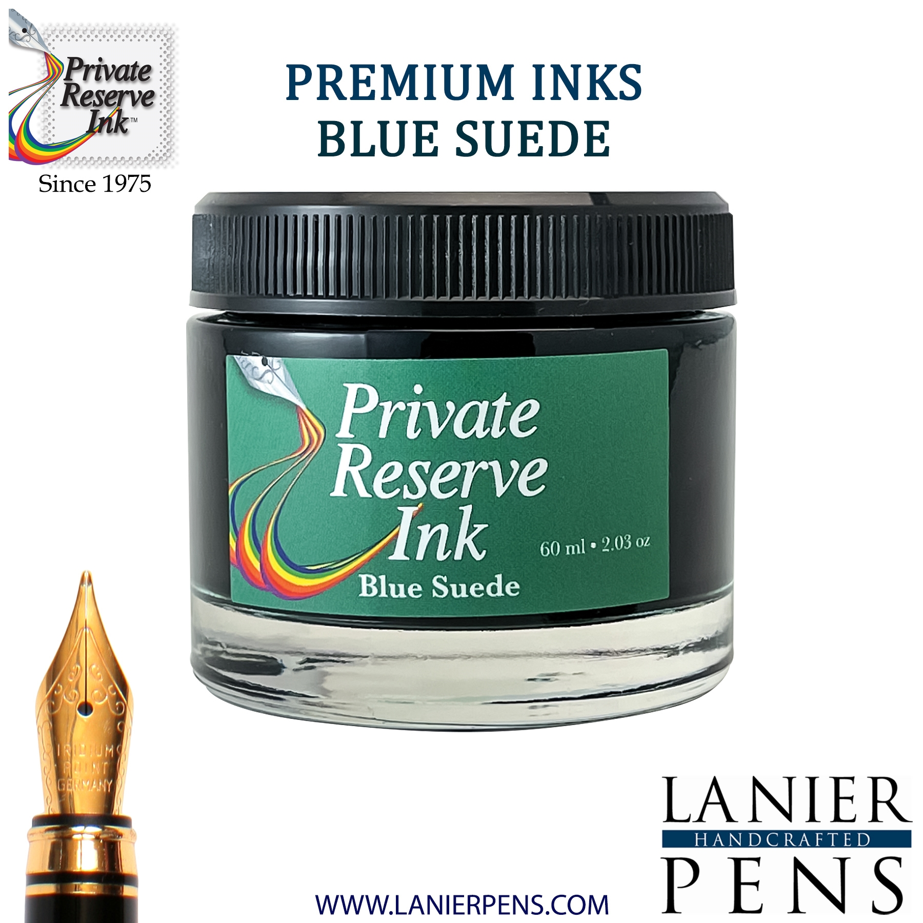 Private Reserve Blue Suede Fountain Pen Ink Bottle 13-bls - Lanier Pens