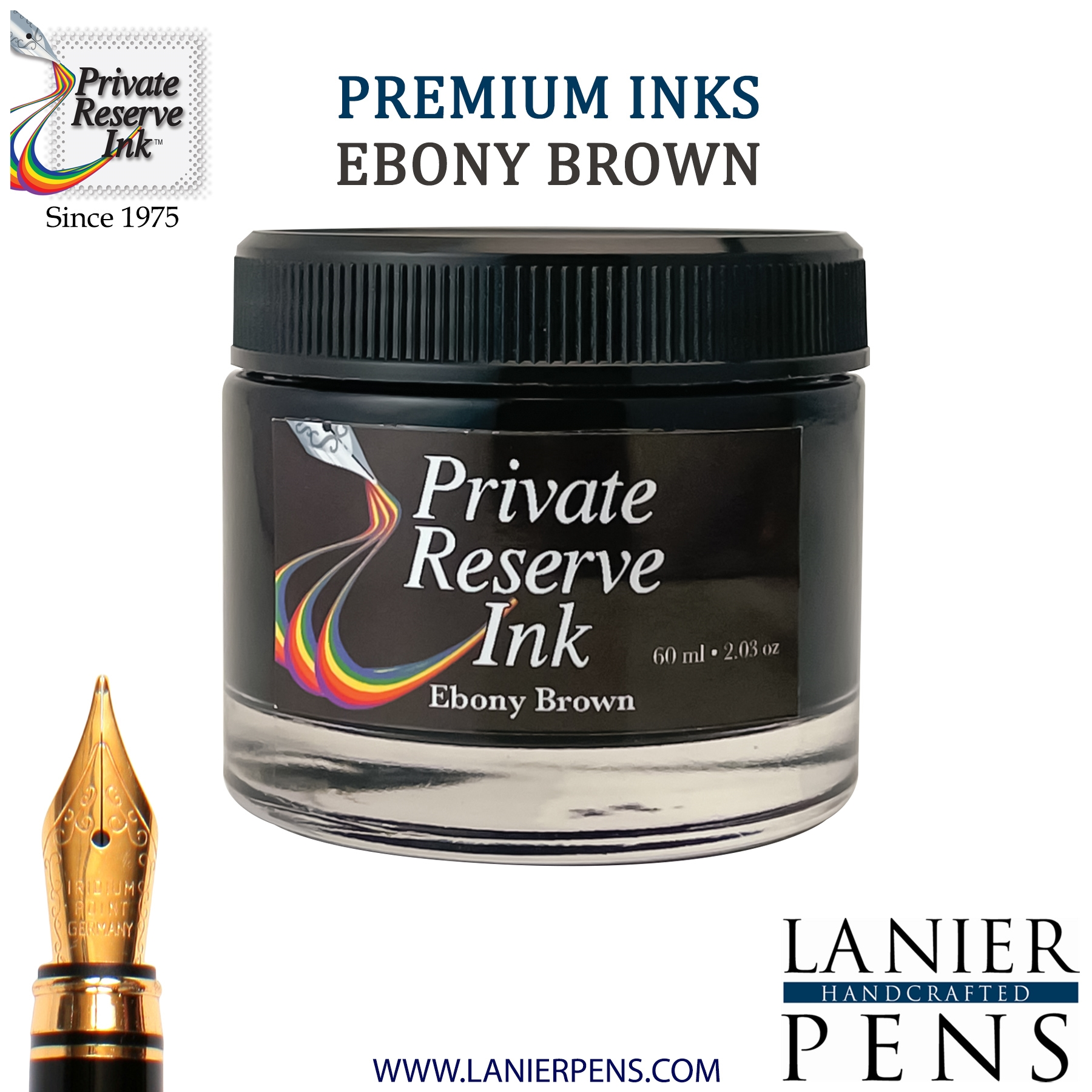 Private Reserve Ebony Brown Fountain Pen Ink Bottle 42-ebb Lanier Pens