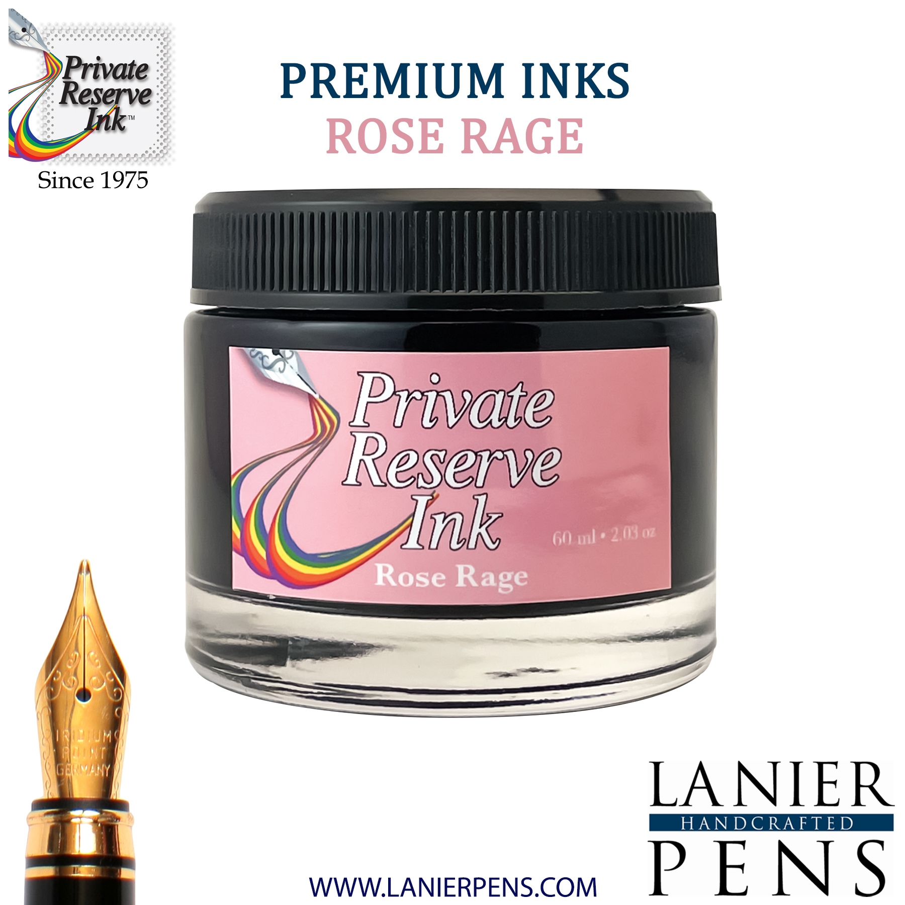 Private Reserve Rose Rage Fountain Pen Ink Bottle 45-rr Lanier Pens