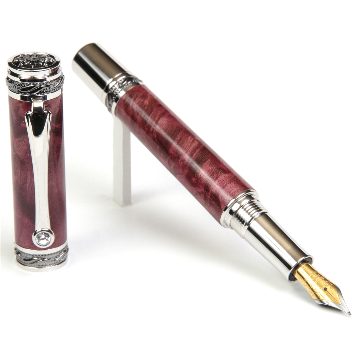 Majestic Fountain Pen - Red Maple Burl