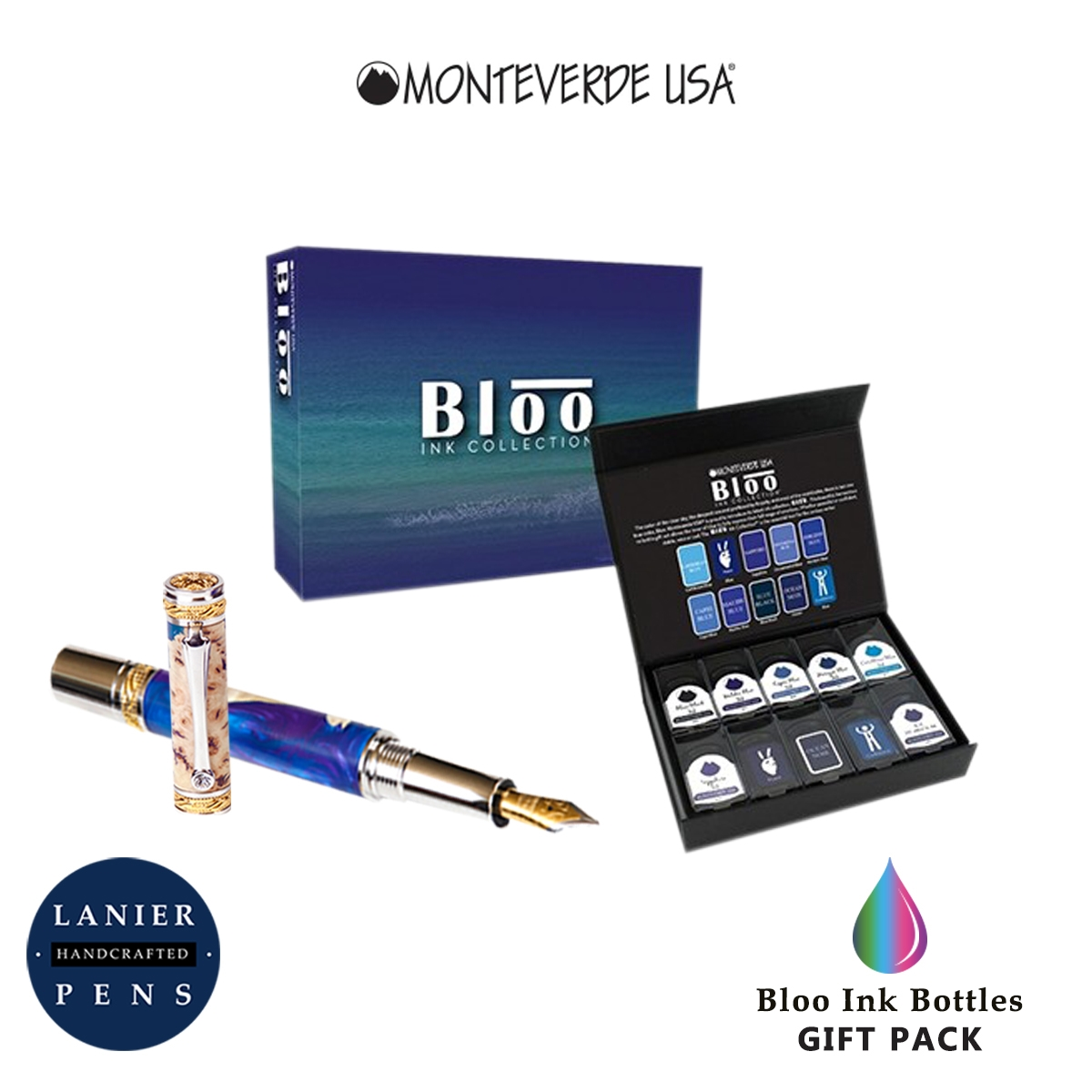 Monteverde MV12377 10 Piece Fountain Pen Ink Bottle Gift Set- Bloo Collection
