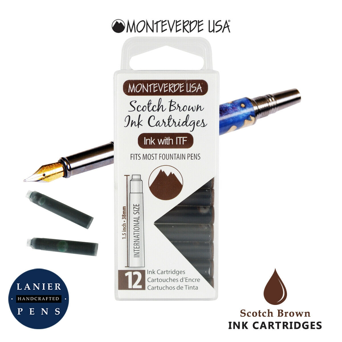 Monteverde G305SB Ink Cartridges Clear Case Gemstone Scotch Brown- Pack of 12