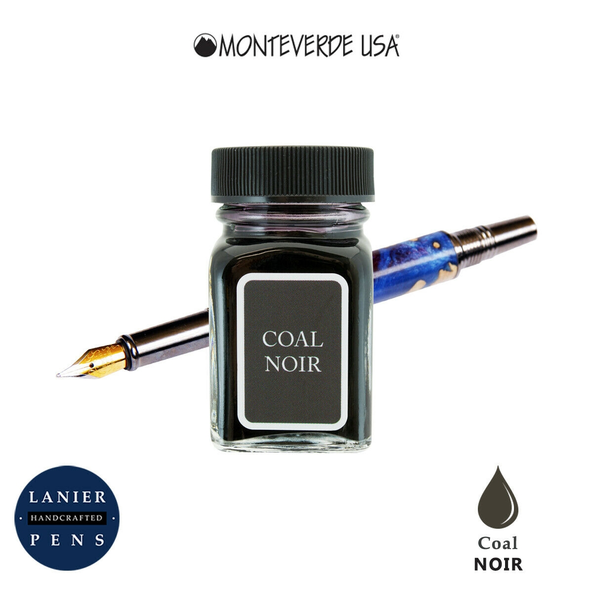 Monteverde G309LN 30 ml Noir Fountain Pen Ink Bottle- Coal Noir