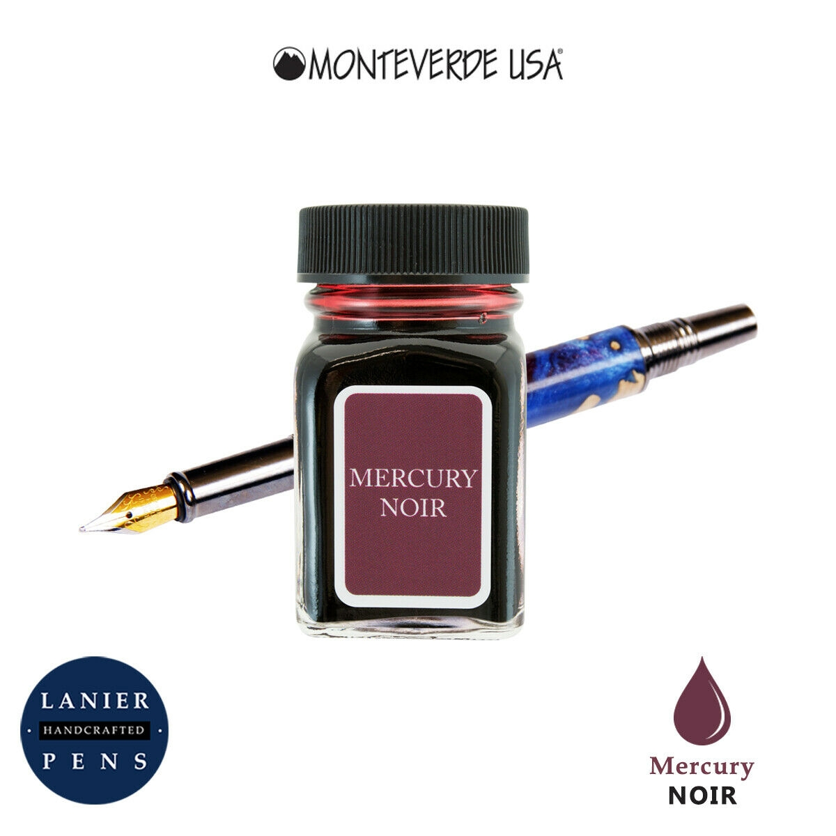 Monteverde G309MN 30 ml Noir Fountain Pen Ink Bottle- Mercury Noir