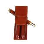 Leather Pen Holder – Brown Double