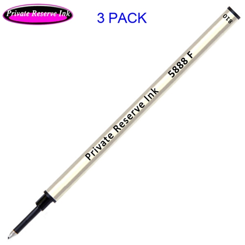 3 Pack - Private Reserve Ink Schmidt 5888 Rollerball Metal Refill - Black Ink Fine