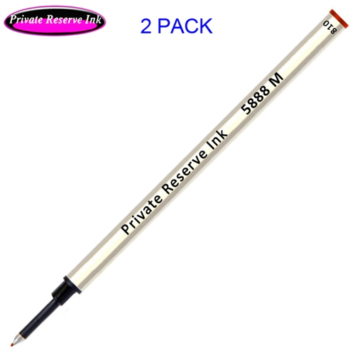 2 Pack - Private Reserve Ink Schmidt 5888 Rollerball Metal Refill - Red Ink Medium