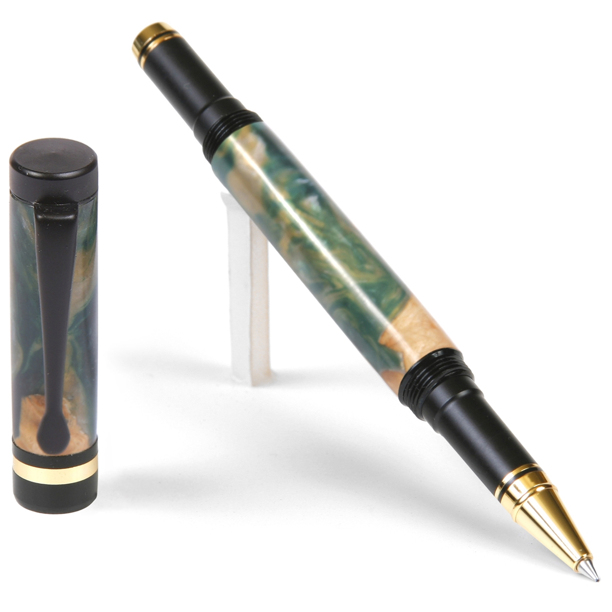 Classic Rollerball Pen - Green and Silver Burl End Cap