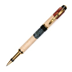 Cigar Rollerball Pen - Maple with Red & Blue Inlay
