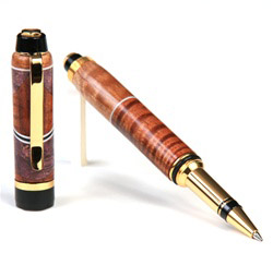 Cigar Rollerball Pen - Curly Koa, Pyinma with Maple Burl Inlays