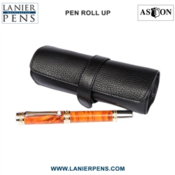 Aston Leather Roll Up Pen Case Luggage Accessory - 5 Pen Holder Roll Up Black Case