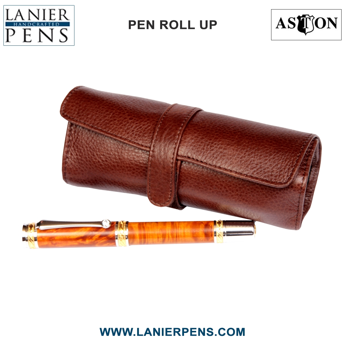 Aston Leather Roll Up Pen Case Luggage Accessory - 5 Pen Holder Roll Up Brown Case