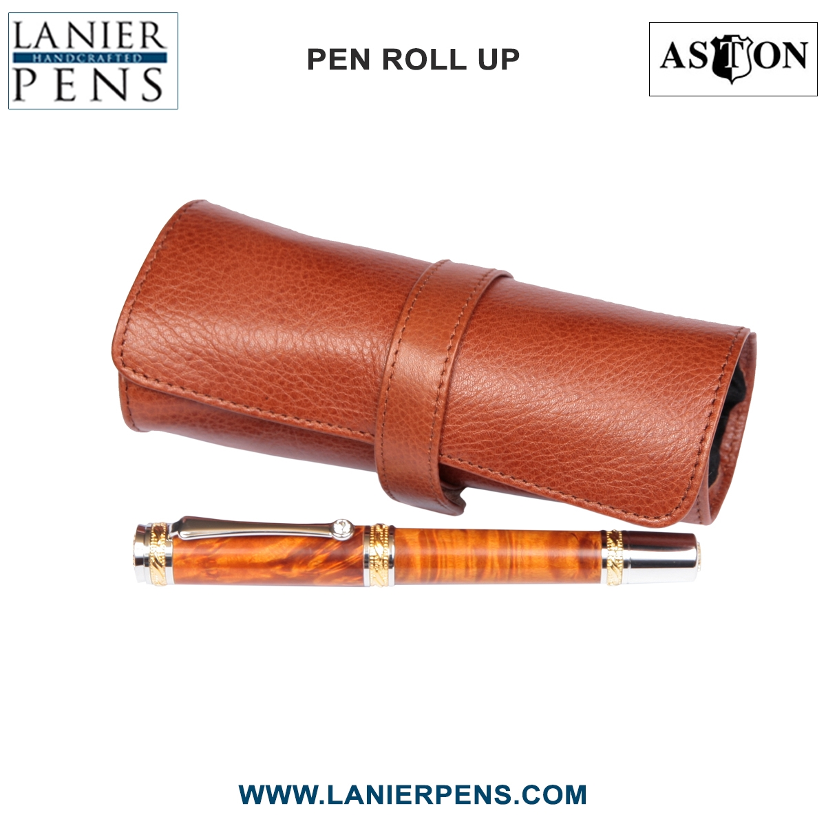 Aston Leather Roll Up Pen Case Luggage Accessory - 5 Pen Holder Roll Up Tan Case