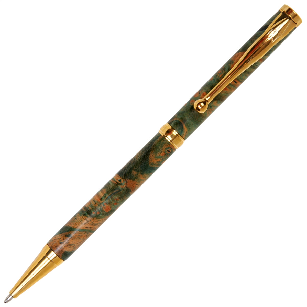 Slimline Twist Pen - Green Maple Burl