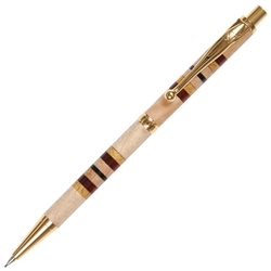 Slimline Pencil - Maple with Yellowheart, Red Heart and Ebony Inlays